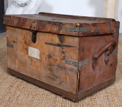 Vintage Leather Trunk Large Steamer Coffee Table Case