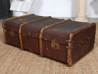 Vintage Trunk Large Steamer Coffee Table Wooden Bound Case