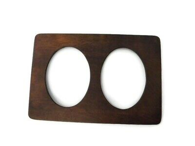 Antique Solid Wood Double Oval Wall Picture Frame in Walnut Finish