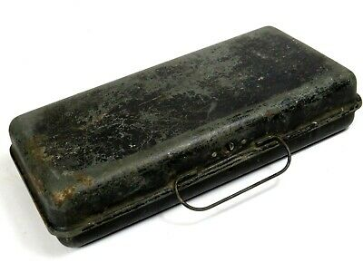 Antique Metal Fishing Tackle Box THE STANDARD Marysville Ohio OLD Advertising
