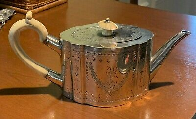Early 1800s Antique silver plate teapot with ivory handles (style of Geo III)