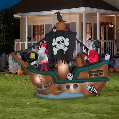 10 FT ANIMATED HALLOWEEN PIRATE SHIP Airblown Lighted Yard Inflatable