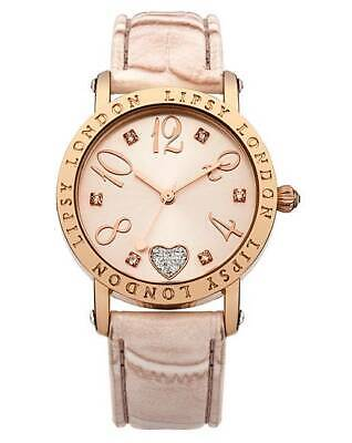 Ladies Lipsy Love Heart Round Dial Strap Gold/Rosegold Watch