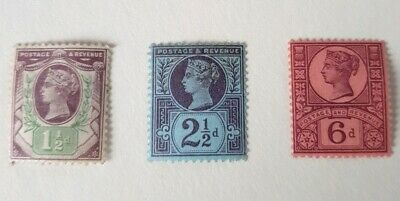 Gb stamps QV 1887 /1900 jubilee issue 3 stamps 11/2d - 21/2d - 6d all L H M