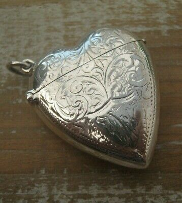Antique Style Heart Shaped Hallmarked Sterling Silver Vesta Case Match Safe