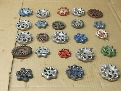 "Lot 24 Vintage Metal Water Valve Spicket Spigot Knobs Handle Steam PunK 2"" to 3"""