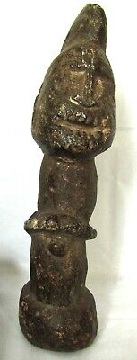 "Ancient 9"" Carved Stone Totem - Pre Columbian Phallic Warrior Fertility God Tool"