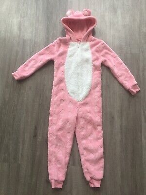 Girls All In One Pink Fluffy Soft Outfit Teddy Ears With Hood 6-7 Years Hearts