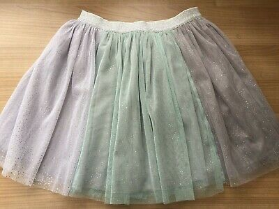 Girls Next Netted Sparkly Skirt Silver / Grey Light Green 9 Years Vgc