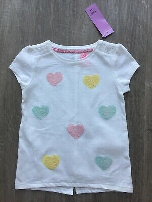 Lovely Girls White Tshirt Top With Sequin Heart Detail 6-7 Years Bnwt