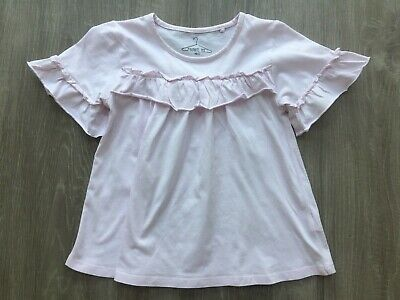 Girls Next Pink Tshirt Top With Frill Design Detail 7 Years Vgc Short Sleeved