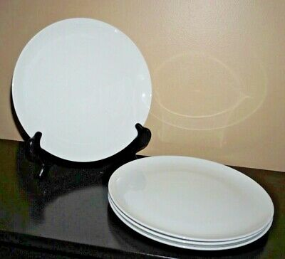4 Mid Century MCM White Centura Coupe by Corning Dinner Plates