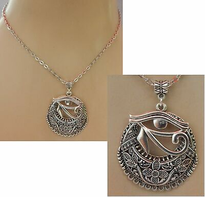 Eye Horus Necklace Pendant Egyptian Ra Chain Silver Egypt Protection Jewelry