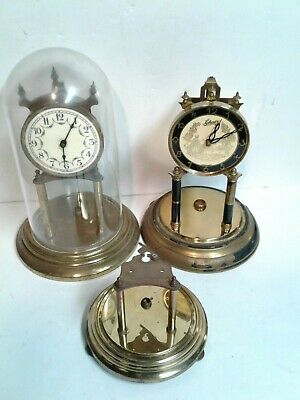 Lot of Anniversary Clock Parts, Dome, 2 Clocks, 1 Base, Schatz, Germany Parts