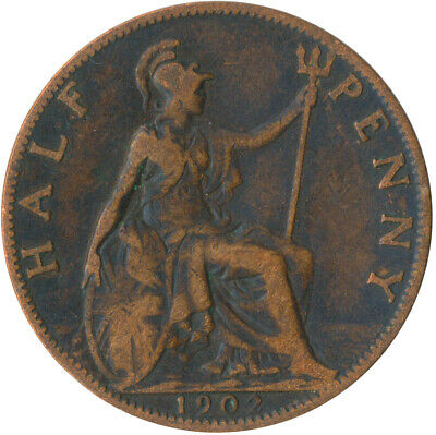 1902 Half Penny Of Edward Vii. / Collectible Coin    #Wt5353