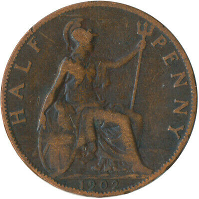 1902 Half Penny Of Edward Vii. / Collectible Coin    #Wt5354