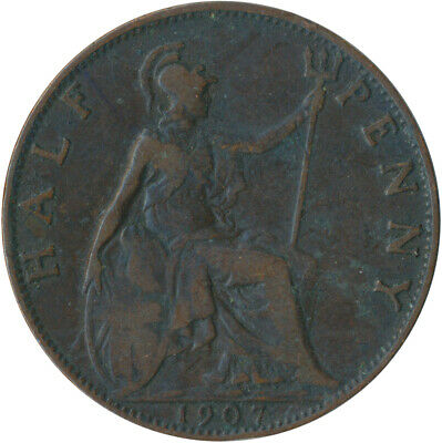 1907 Half Penny Of Edward Vii. / Collectible Coin    #Wt5357