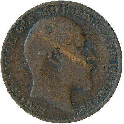1908 Half Penny Of Edward Vii. / Collectible Coin    #Wt5360