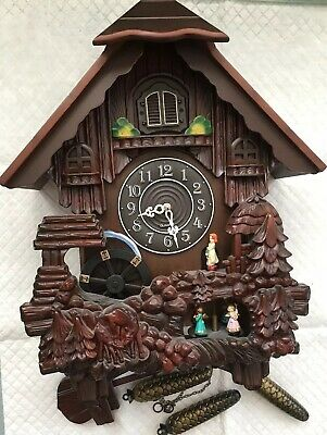 Vintage German Cuckoo Clock Wood & Plastic Bird Black Forest Style w/ 3 weights*