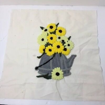 """Daisies in Tea Kettle Finished Needle Punch Embroidery Pretty 17"""" Square"""