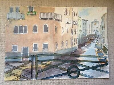 Original painting drawing water color VENICE ITALY Venedig venezia canal canale