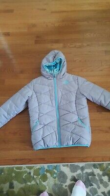 North Face Girls gray Reversible Hooded coat Size Girls xl 16