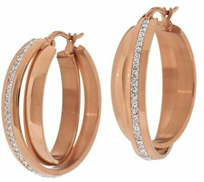 QVC Steel by Design Goldtone-Plated Polished Crystal Double Round Hoop Earrings