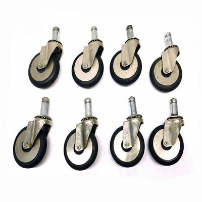 """(Lot of 8) Jarvis 19 Series Cushion Rubber Industrial Swivel Casters 4"""" Diameter"""
