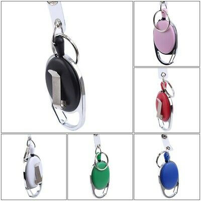 Retractable Reel Pull Key ID Card Badge Tag Clip Holder Carabiner Keychain