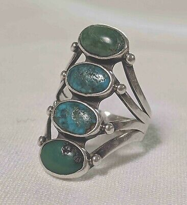 Excellent Old NAVAJO Antique 4 Stone Stacked TURQUOISE & SILVER RING Collectible