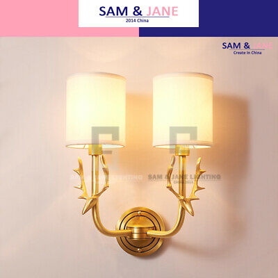Fabric Cylinder Night Light Brass Wall Lamp BISTRO Wall Sconce French LED
