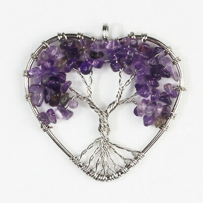 Amethyst Gemstones Chips Bead Tree of Life Chakra Silver Heart Pendant Jewelry