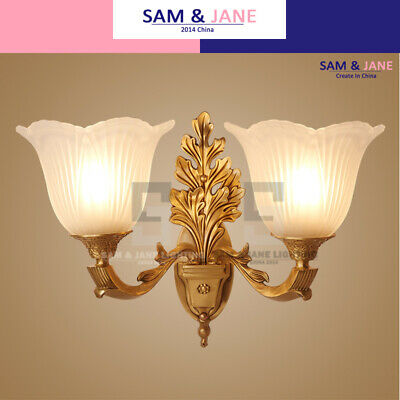 Crystal Flower Night Light Brass Wall Lamp BISTRO Wall Sconce French LED