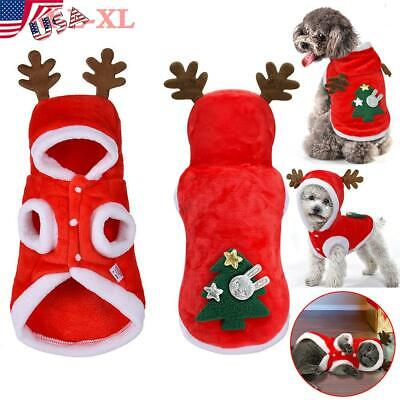 Pet Puppy Cloth Dog Cat Hooded Sweater Party Christmas Cosplay Costume USA