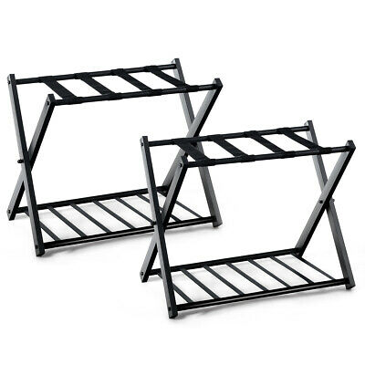 2 PCs Folding Metal Luggage Rack Suitcase Shoe Holder Hotel Guestroom w/Shelf