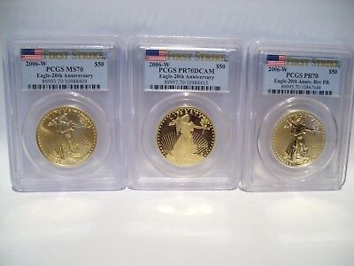 2006 w Gold 3 coin American Eagle set 20th Anniversary PCGS ALL 70 FIRST STRIKES