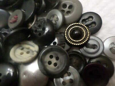 Vintage Button Lot~Black Gray~132 Buttons~Crafts Sewing Scrapbooking~more