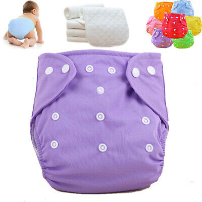 Lot Baby Washable Cloth Diaper Nappies Adjustable Reusable 5 Diapers+ 5 INSERTS