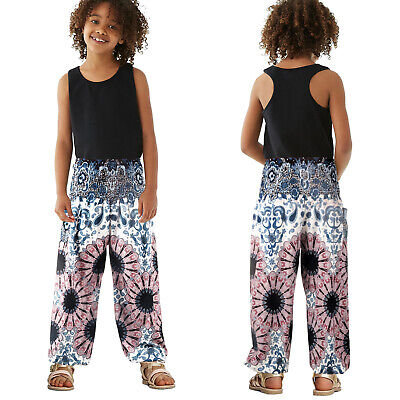 Kids Girls Boho Lantern Trousers Floral Printed Casual Baggy Hippie Harem Pants