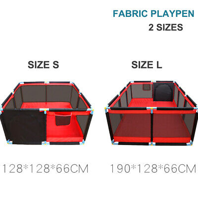 Fabric Baby Toddler Playpen Foldable Portable Exercise Cage Fence Enclosure 2 Sz
