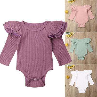 Newborn Baby Girl Ruffle Romper Bodysuit Jumpsuit Playsuit Summer Clothes Outfit