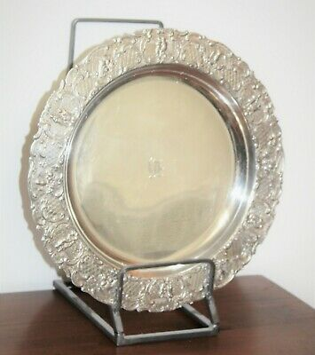 "C. 1890 Antique Victorian Edwardian Silver Plate 14"" Tray by E G Webster & Son"