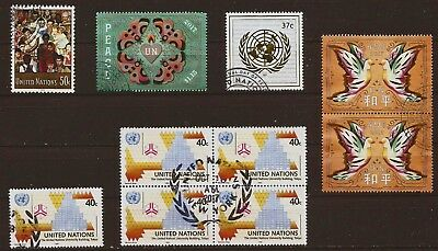 United Nations (UN) Stamps: Modern Issues **See Scan** Used Lot of 10 Mixed Cond