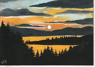 "aceo original acrylic painting ""Sunset Island"" by J. Hutson"