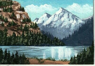 "aceo original acrylic painting ""Shining Mountain Lake"" by J. Hutson"