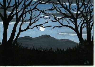 "aceo original acrylic painting ""Night Shadows"" by J. Hutson"