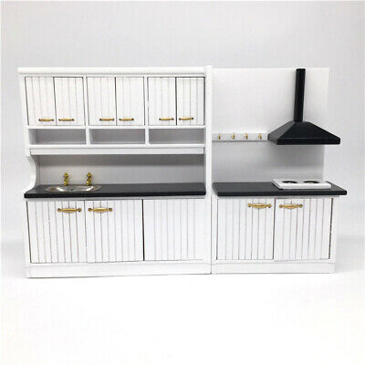 2 PCS 1/12 Dollhouse Miniature Furniture/Kitchen Set/Gas Stove & Sink & Cabinet