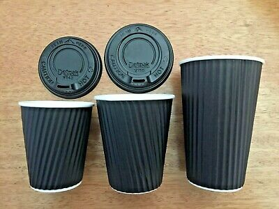 BULK COOL WAVE DUAL WALL TAKE AWAY COFFEE CUPS WITH LIDS 8 Oz, 12 Oz, 16 Oz