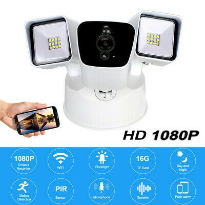 Ring Black Floodlight WiFi Camera Motion-Activated HD Security Cam Alarm S3V8