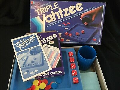 Vintage 1982 Triple Yahtzee Dice Game Family Game Night Dice Instructions Box
